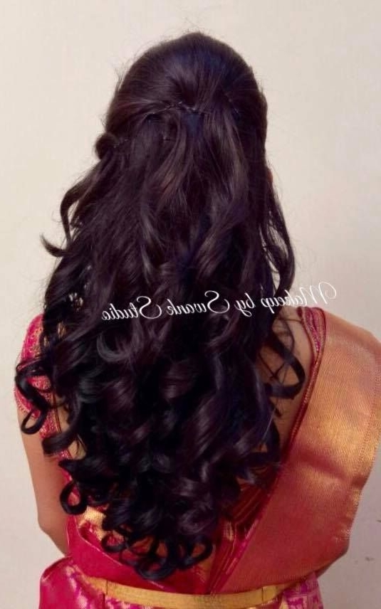 Indian Bride. Bridal Hairstyle. Curls. Bridal Reception Hair (View 12 of 15)
