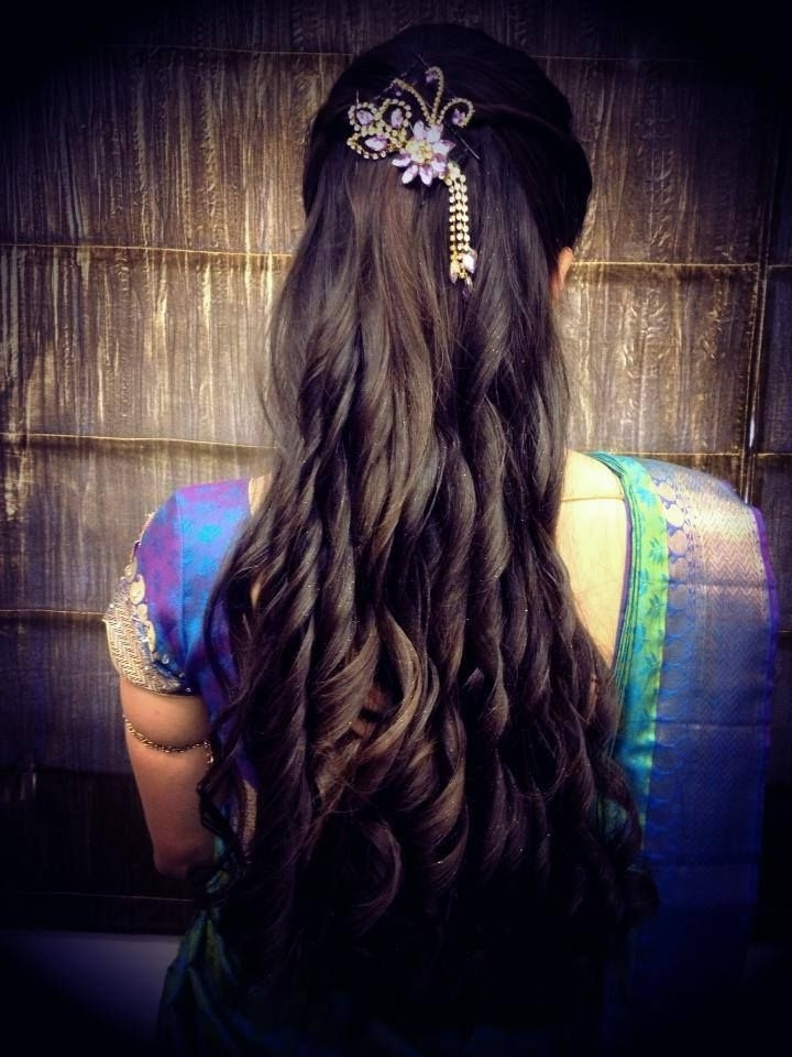 Indian Bride's Bridal Reception Hairstyle Styledswank Studio Inside Indian Wedding Reception Hairstyles For Long Hair (View 11 of 15)