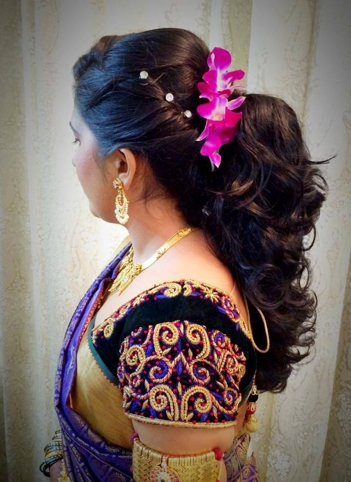 Indian Bride's Bridal Reception Hairstyleswank Studio (View 9 of 15)