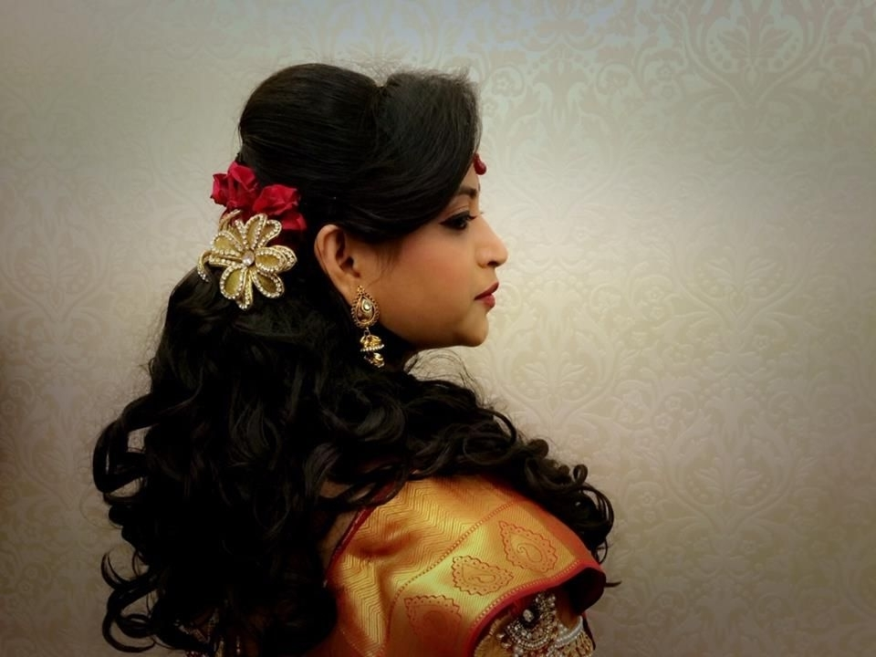 Indian Bride's Bridal Reception Hairstyleswank Studio (View 15 of 15)