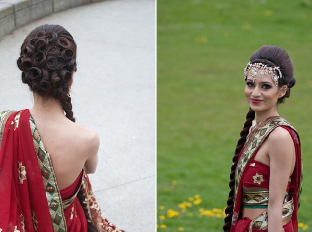 Indian Wedding Red Sari With Long Braid Hairstyle Ideas | Wedding Intended For Braided Hairstyles For Long Hair Indian Wedding (View 2 of 15)
