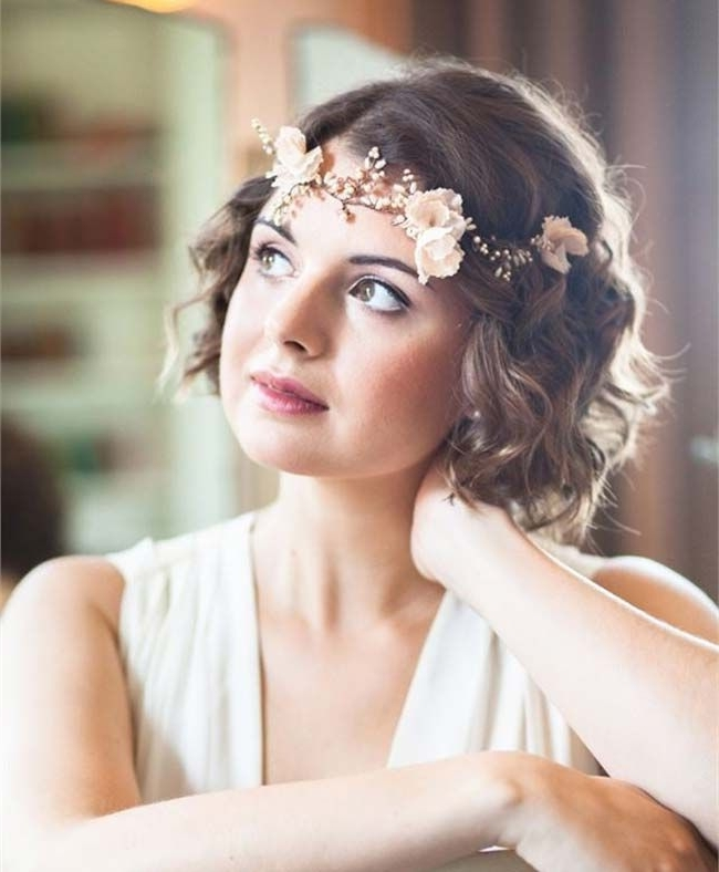 Inspiring Short Hair Wedding Styles Pertaining To Best 25 Bridal Intended For Bohemian Wedding Hairstyles For Short Hair (View 14 of 15)