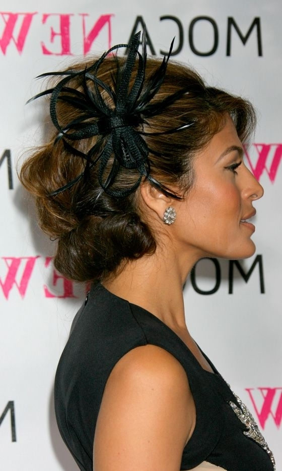 Instant Hairstyle Update: Hair Accessories | Pinterest | Eva Mendes Intended For Wedding Guest Hairstyles For Long Hair With Fascinator (View 9 of 15)