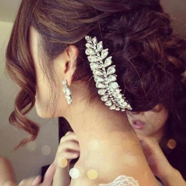 Jewels, Hair, Bun, Wedding, Hair Accessory, Wedding Hairstyles, Hair intended for Wedding Hairstyles With Jewels