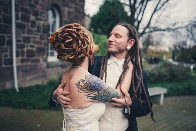 Karly & Steve's Artsy And Crafty Upcycled Wedding | Bridal Updo Regarding Wedding Hairstyles With Dreads (View 9 of 15)