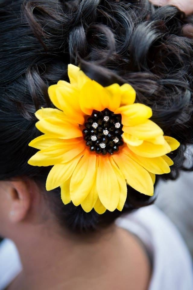 Large Sunflower Hair Clip With Rhinestones | Pinterest | Sunflowers Throughout Wedding Hairstyles With Sunflowers (View 6 of 15)