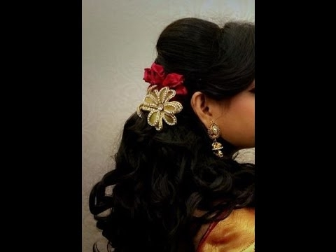 Latest Floral Hair Styles Braid For South Indian Brides For 2015 In South Indian Wedding Hairstyles For Medium Length Hair (View 11 of 15)