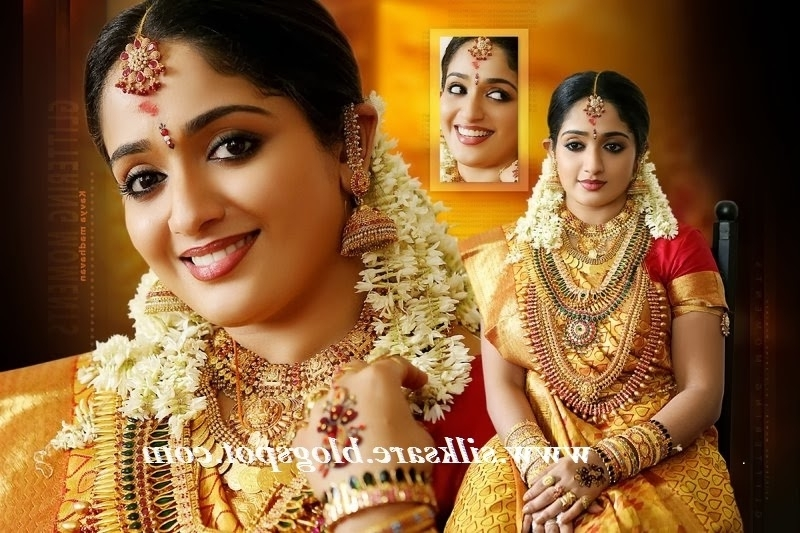 Latest Indian Wedding Silk Saree,jewellery,wedding Hair Style With Regard To Kerala Wedding Hairstyles For Long Hair (View 9 of 15)
