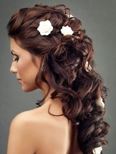 Long Beautiful Wedding Hairstyle With Flowers | To Say I Do With Regard To Wedding Hairstyles For Long Dark Hair (View 12 of 15)