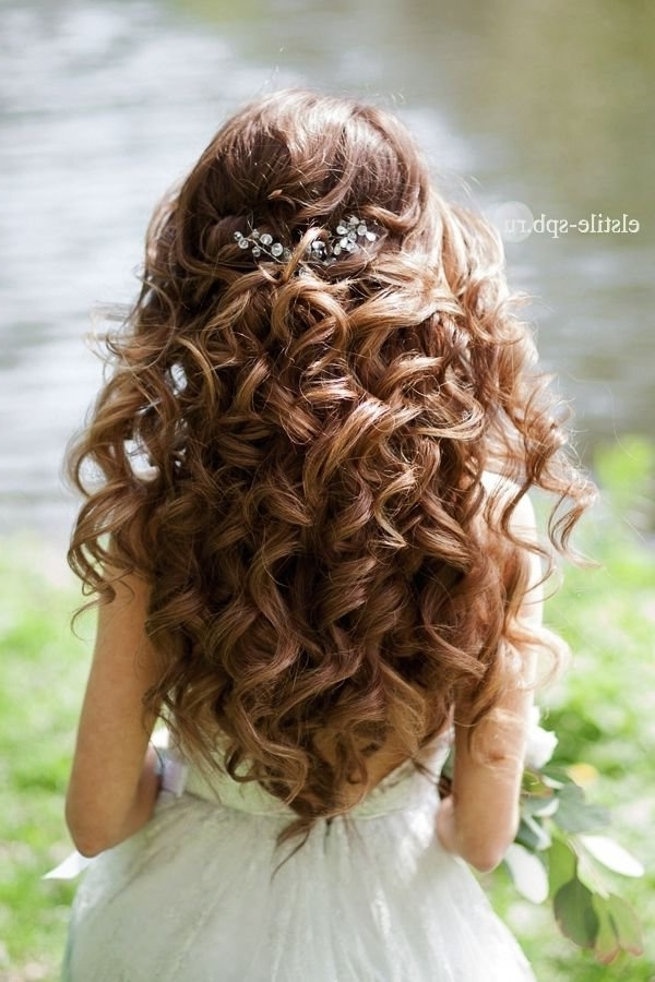 Featured Photo of Curls Up Half Down Wedding Hairstyles