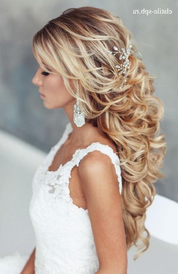 Long Curly Half Up Half Down Wedding Hairstyle | Deer Pearl Flowers Pertaining To Curls Up Half Down Wedding Hairstyles (View 10 of 15)