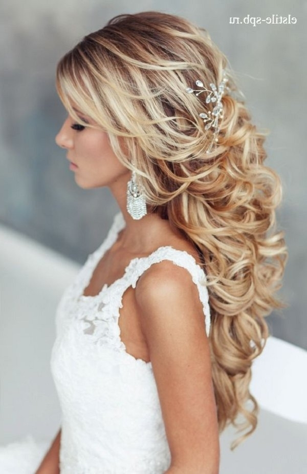 Long Curly Half Up Half Down Wedding Hairstyle | Deer Pearl Flowers With Regard To Curls Down Wedding Hairstyles (View 7 of 15)