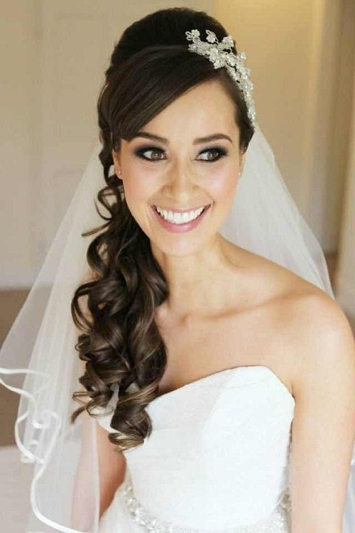 Long Curly Half Up Wedding Hairstyles With Side Bangs And Veil In Wedding Hairstyles For Long Curly Hair With Veil (View 5 of 15)