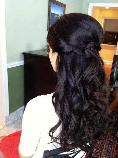 Long Dark Curly Half Up Wedding Hair @ Wedding Day Blisswedding Day Inside Wedding Hairstyles For Long Dark Hair (View 5 of 15)