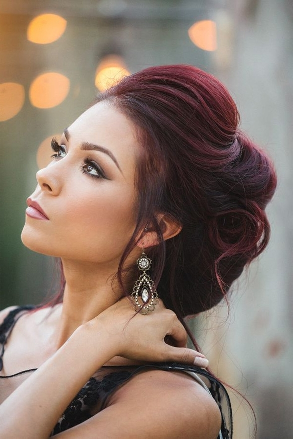 Long, Dark Red Updo With Swept Back Fringe And Loose Streaks Inside Wedding Hairstyles For Long Red Hair (View 11 of 15)