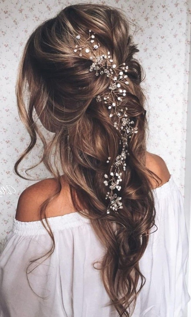 Long Pulled Back Loose Waves Wedding Hairstyle 1   Simple Yet Regarding Pulled Back Wedding Hairstyles (View 4 of 15)