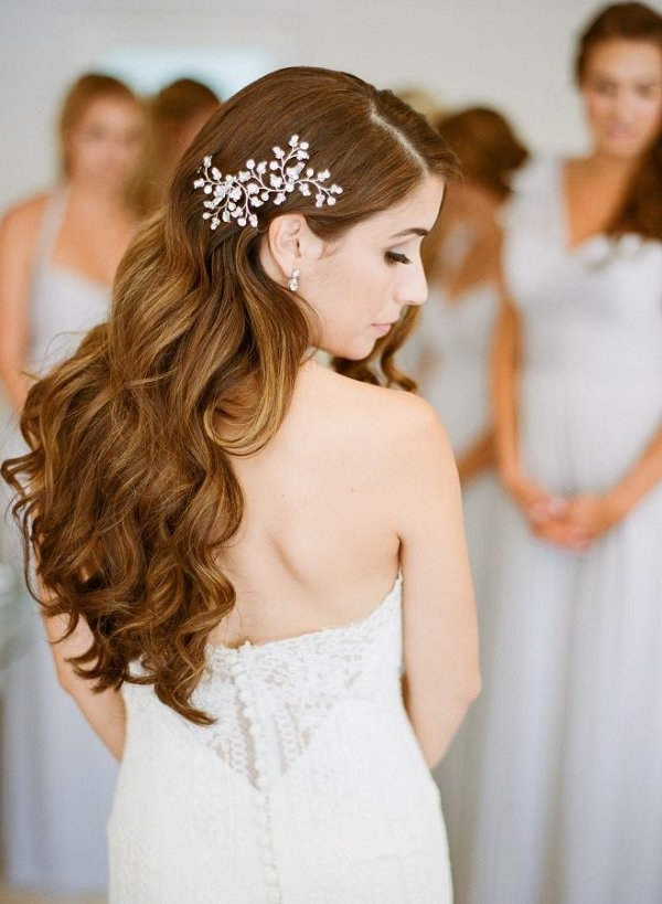 Long Wavy Curly Down Wedding Hairstyle With Hairpiece | Deer Pearl Throughout Wedding Hairstyles With Hair Piece (View 7 of 15)