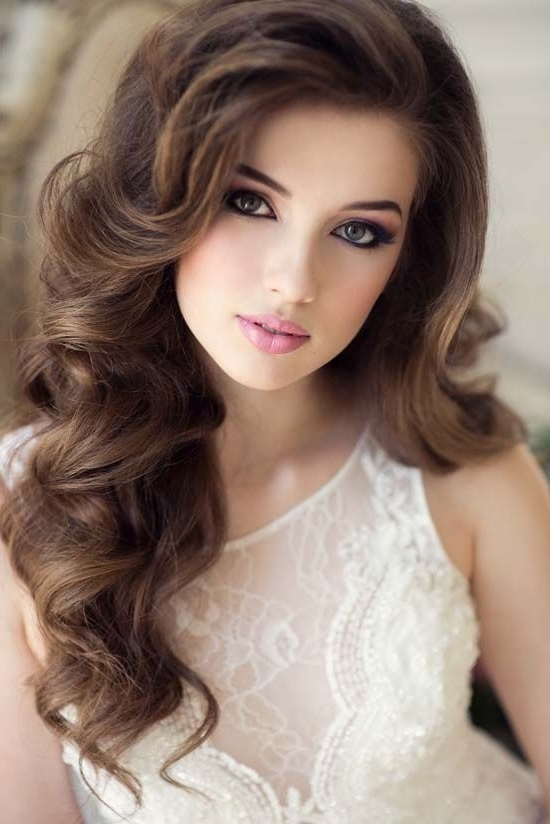 Long Wavy Wedding Hairstyle And Makeup Throughout Wedding Hairstyles For Long Wavy Hair (View 8 of 15)