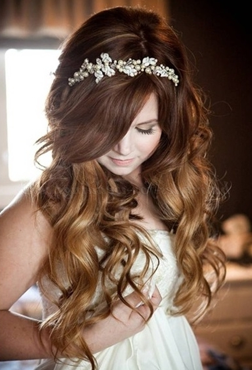Long Wedding Hairstyles – Hair Down Wedding Hairstyle With Pearl Regarding Wedding Hairstyles Down With Headband (View 10 of 15)