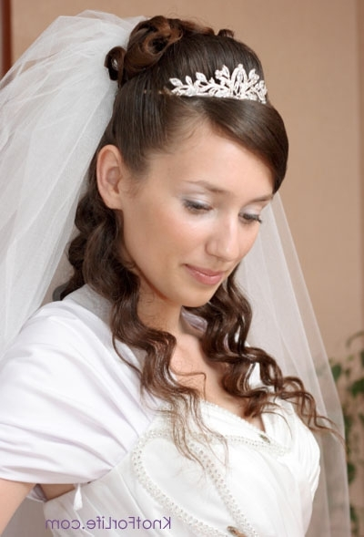 Long Wedding Hairstyles With Veils And Tiaras – Knot For Life For Wedding Hairstyles With Veil And Tiara (View 7 of 15)