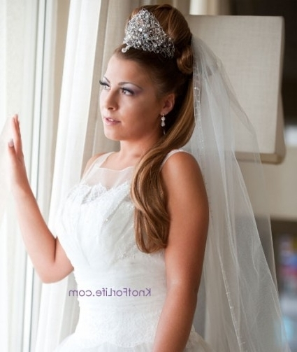 Long Wedding Hairstyles With Veils And Tiaras – Knot For Life In Half Up Half Down With Veil Wedding Hairstyles (View 14 of 15)