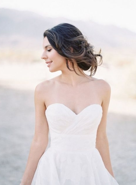 Looking Beautiful Wedding Hairstyles For Strapless Dresses 17 Throughout Wedding Hairstyles For Long Hair And Strapless Dress (View 2 of 15)