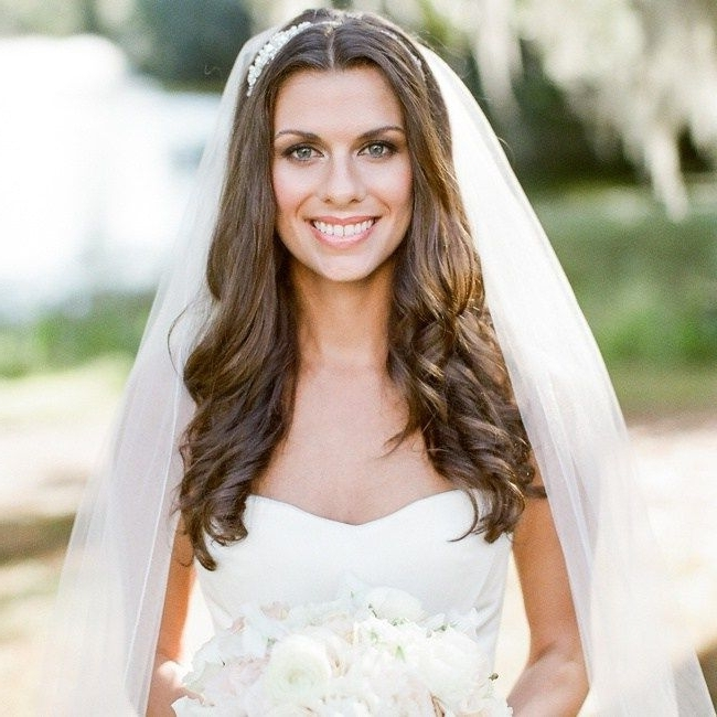 Loose Curls Hair Down With Long White Wedding Veil | Panz's Wedding Pertaining To Wedding Hairstyles For Long Curly Hair With Veil (View 13 of 15)