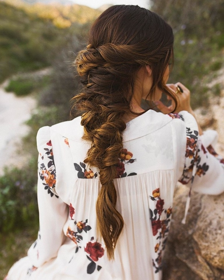 Loose Fishtail Braid With Relaxed Twists | Brides With Regard To Fishtail Braid Wedding Hairstyles (View 11 of 15)