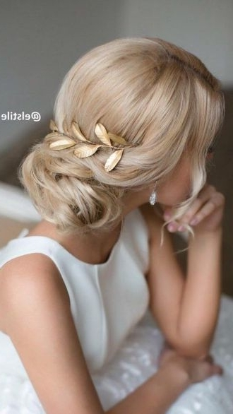 Low Bun Wedding Hairstyle With Gold Hair Accessory – Ladystyle With Wedding Hairstyles For Long Low Bun Hair (View 10 of 15)