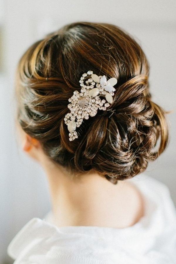 Low Wedding Updo With Hairpiece | Deer Pearl Flowers Intended For Wedding Hairstyles With Hair Piece (View 9 of 15)
