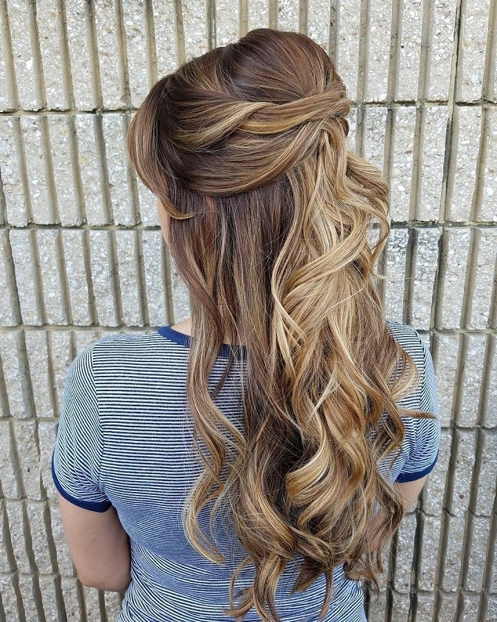 Maroon Hair Gel And 32 Pretty Half Up Half Down Hairstyles Partial Inside Partial Updo Wedding Hairstyles (View 11 of 15)