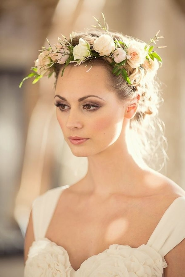 Medium With Flower Crown – Tania Maras | Bespoke Wedding Within Wedding Hairstyles For Medium Length Hair With Flowers (View 11 of 15)