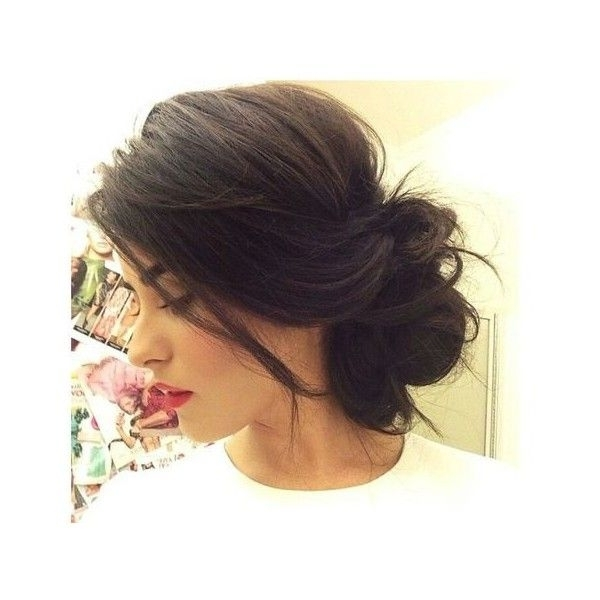 Messy Bun For Short Hair ? Liked On Polyvore Featuring Hair And In Casual Wedding Hairstyles For Short Hair (View 11 of 15)