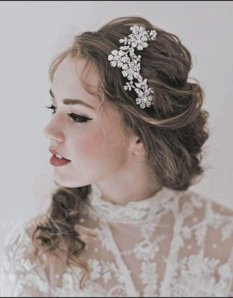 Mid Length Wedding Hairstyles Elegant Wedding Hairstyles With Tiara Intended For Wedding Hairstyles For Medium Length Hair With Tiara (View 10 of 15)