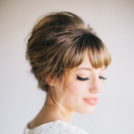 Must Read Tips For Wedding Hairstyles With Full Fringe (Bangs)! With Regard To Wedding Hairstyles For Short Hair With Bangs (View 3 of 15)