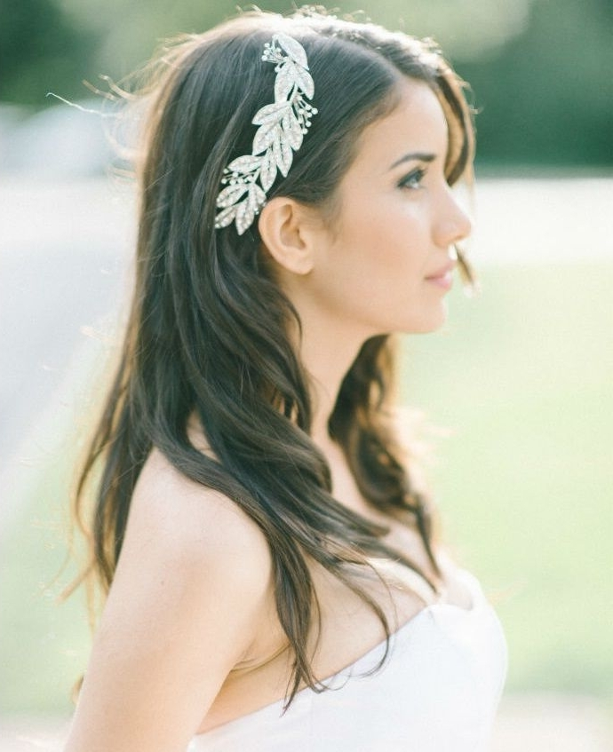 Natural Bridal Hairstyles For Straight And Long Hair Down With Silk in Wedding Hairstyles Down With Headband
