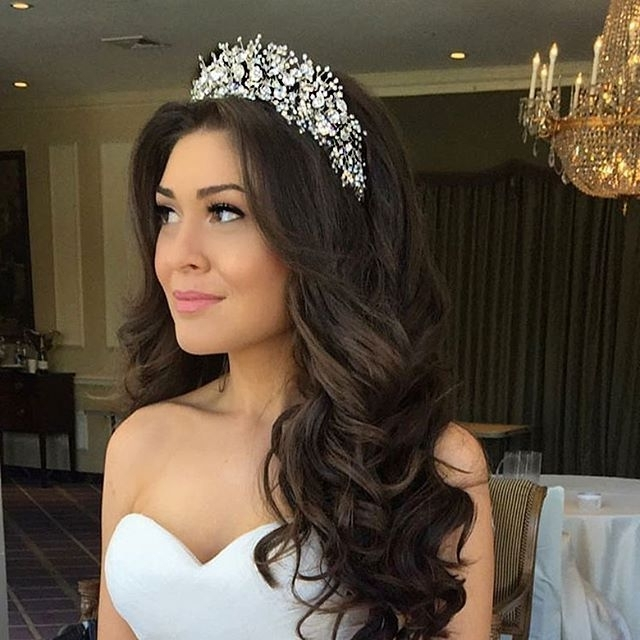 New Hairstyle For Women Over 40 | Pinterest | Headpieces, Custom pertaining to Wedding Hairstyles For Long Hair With Tiara