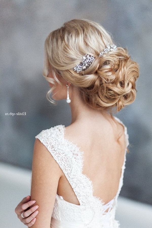 Ombre Curly Wedding Updo Hairstyle | Deer Pearl Flowers For Wedding Updos Hairstyles (View 8 of 15)
