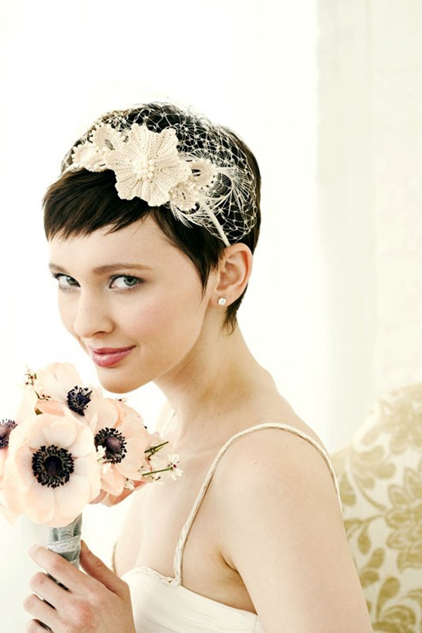 Pictures Of Wedding Hairstyles Very Short Hair Intended For Wedding Hairstyles For Very Short Hair (View 9 of 15)