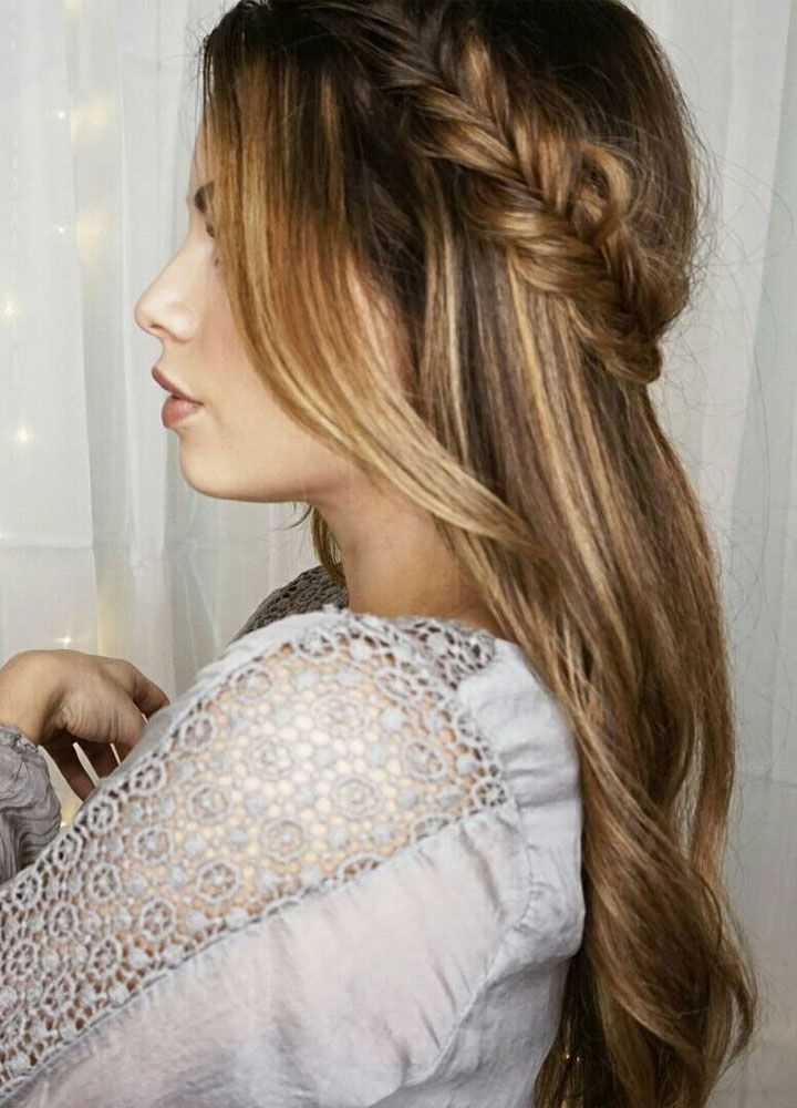 Pretty Crown Braids And Hair Down Wedding Hair Style Idea With Regard To Wedding Hairstyles For Down Straight Hair (View 4 of 15)