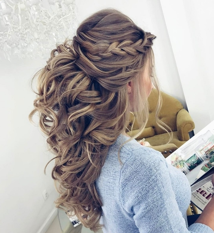Pretty Half Up Half Down Hairstyle For Wedding Throughout Half Up Half Down Wedding Hairstyles For Long Hair (View 7 of 15)