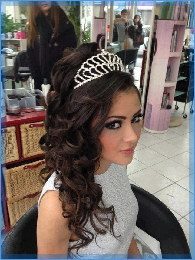 Quinceanera Hairstyles With Tiara | Hairstyles | Pinterest | Sweet For Wedding Hairstyles For Long Hair Down With Tiara (View 9 of 15)