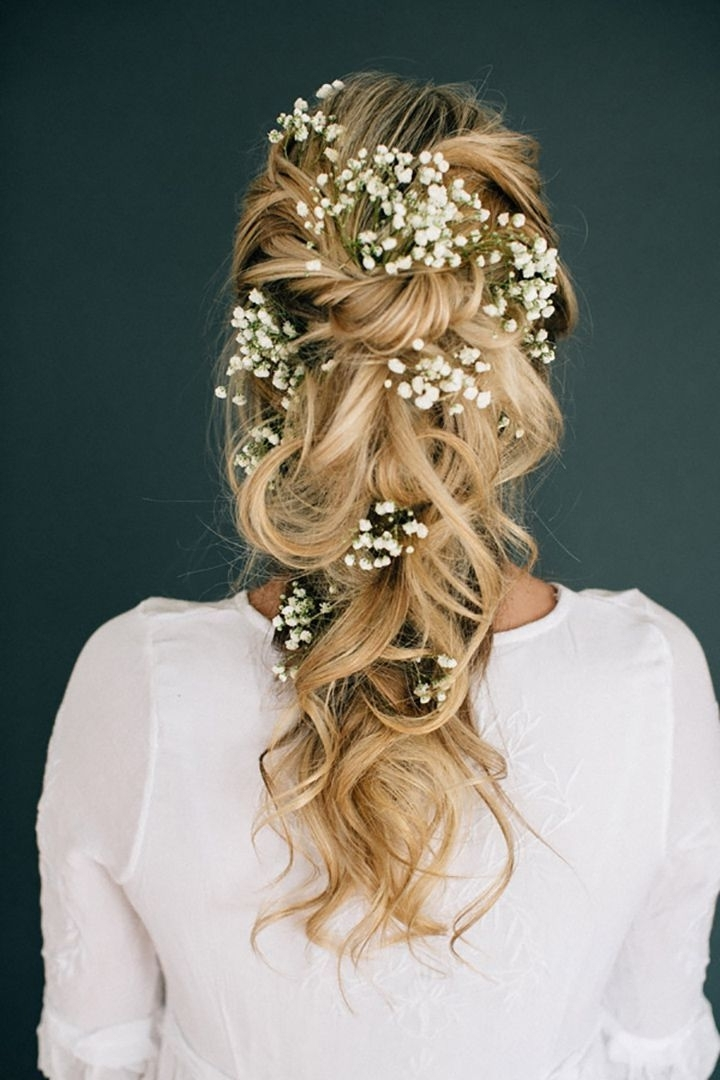 Romantic Tousled Bridal Braid Adorned With Baby's Breath | Pinterest For Long Wedding Hairstyles With Flowers In Hair (View 10 of 15)