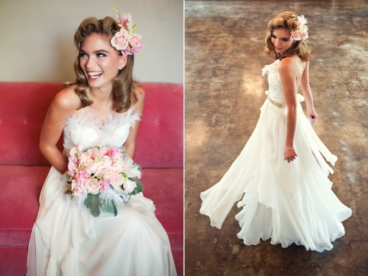 Romantic Wedding Dress And Vintage Wedding Hairstyle Throughout Romantic Vintage Wedding Hairstyles (View 10 of 15)