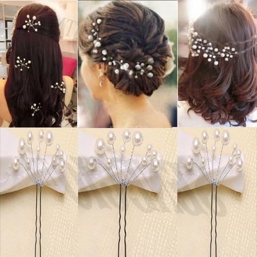 Senecio™ 3Pc New Bridal Jewelry Wedding Hair Accessories Headwear Regarding Wedding Hairstyles With Jewelry (View 10 of 15)