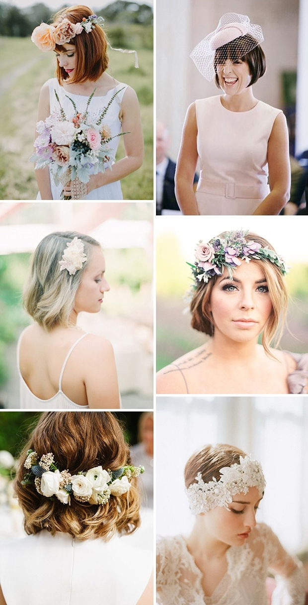 Short & Stylish: 18 Short Hairstyles For Brides &amp Pertaining To Wedding Hairstyles For Bride And Bridesmaids (View 11 of 15)