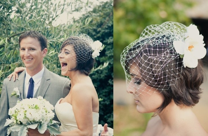 Short Wedding Hairstyle Brunette Bride With Birdcage Veil Within Wedding Hairstyles For Short Hair With Birdcage Veil (View 2 of 15)