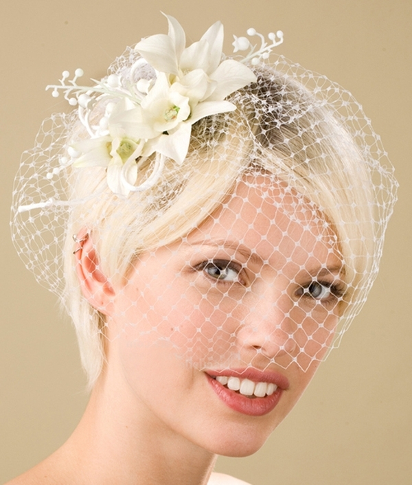 Short Wedding Hairstyle With Birdcage Veil | Ipunya Intended For Wedding Hairstyles For Short Hair With Birdcage Veil (View 13 of 15)
