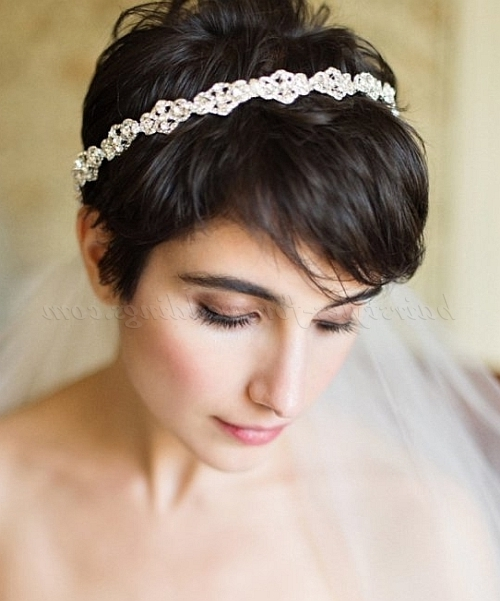 Short Wedding Hairstyles – Short Wedding Hairstyle With Veil Throughout Wedding Hairstyles For Short Hair And Veil (View 9 of 15)