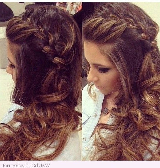 Side Braided Hair With Curls | Hair Styling | Pinterest | Braid Hair With Plaits And Curls Wedding Hairstyles (View 3 of 15)